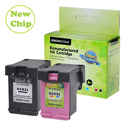 GREENCYCLE Re-Manufactured 65XL 65BXL 65CXL Ink Cartridge Replacement for HP Envy 5055 5052 5058 Deskjet 2655 2622 3720 3730 3758 All-in-One Printer, with New Version chip (1 Black, 1 Tir-Color) -  GREENCYCLE TECH INC, M-65BXL-1PK+65CXL-1PK-0710
