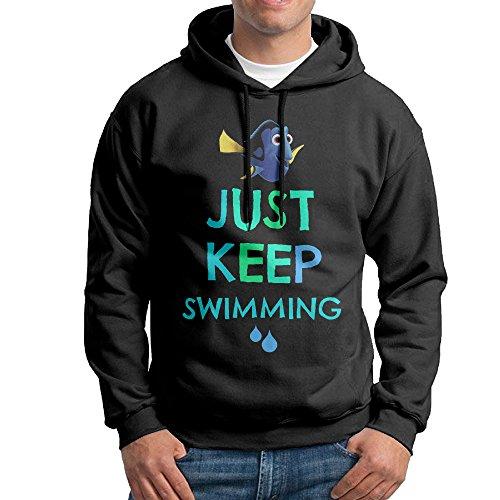 FALKING Men's Funny Cotton Finding Fish Just Keep Swimming Hooded Sweatshirt L Black