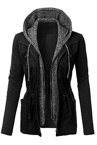 FASHION BOOMY Womens Zip Up Military Anorak Jacket W/Hood (Large, NL_Black)