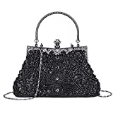 Women's Vintage Beaded and Sequined Evening Bag Wedding Party Handbag Clutch Purse (Black)