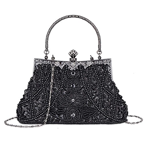 Beaded Vintage Clutch - Women's Vintage Beaded and Sequined Evening Bag Wedding Party Handbag Clutch Purse (Black)