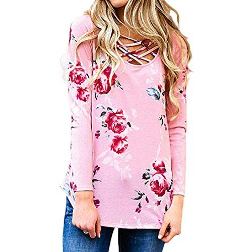 Rambling 2018 New Women T Shirts Long Sleeve Floral Tees U Neck Criss Cross Summer Tops (Super Dry Zip Polo)