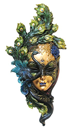 13.63 Inch Peacock Mask Decorative Wall Plaque, Green and ()