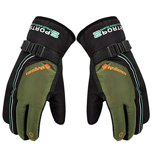 New!DEESEE(TM)Winter Waterproof Anti-Slip Outdoor Sports Warm Thermal Velvet Ski Snow Gloves (Green)