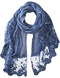 Women's Thin Polyester Scarf/wrap With Lacy Trim