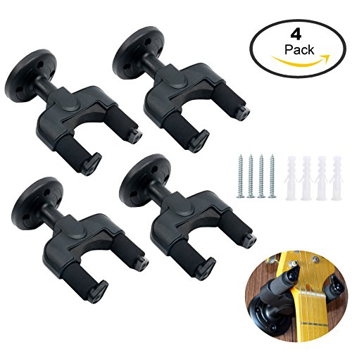 YaeTek 4PCS Guitar Wall Mount Hanger Hook Rack Holder Stand Keeper Bracket with Automatic Lock for Electric Acoustic Guitars Bass Banjos Mandolins Stringed Musical Instrument, Black