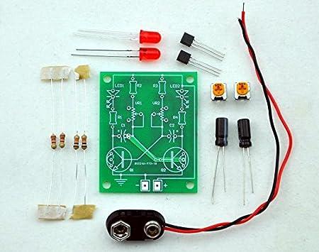 adjustable transistor astable multivibrator circuit learn kit, led