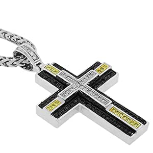 925 Sterling Silver White Black Yellow CZ Large Hip Hop Cross Mens Pendant with Chain