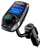FM Transmitter, VicTsing Bluetooth Car MP3 Player Radio Adapter Hands-free Talking Car Kit with Dual USB Ports, 3.5mm Audio Port, 1.44 Inches Screen Support TF Card and U Disk - Grey