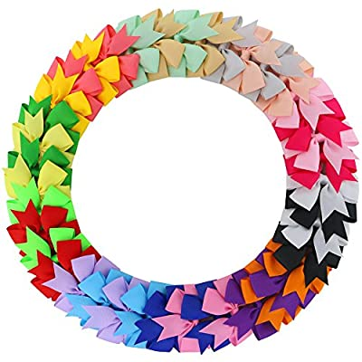 Fortop Boutique Ribbon Pinwheel Hair Bows Baby Grosgrain Bows With Clips For Teens Toddlers 20 Pairs