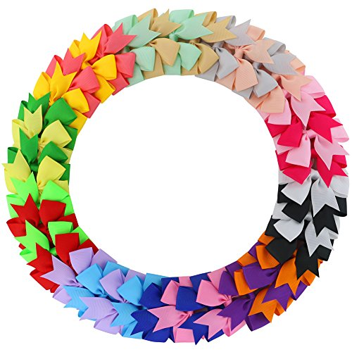 Fortop Boutique Ribbon Pinwheel Hair Bows Baby Grosgrain Bows With Clips For Teens Toddlers 20 (Show Girl Outfits)