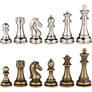 Janus Silver and Bronze Extra Heavy Metal Chess Pieces with Extra Queens - Pieces Only - No Board - 4.5 Inch King