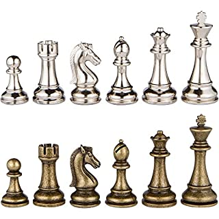Janus Silver and Bronze Extra Heavy Metal Chess Pieces with 4.5 Inch King and Extra Queens, Pieces Only, No Board