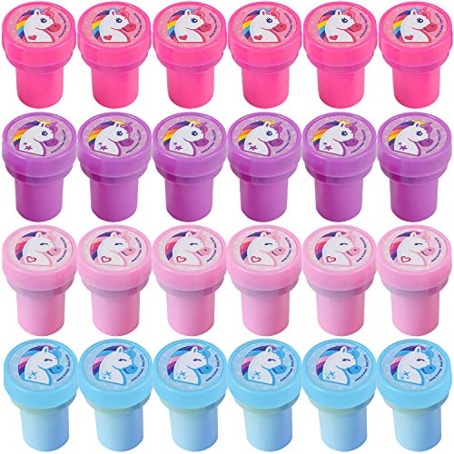 Bedwina Unicorn Stampers - (Pack of 24) Neon Rainbow Self-Inking Rubber Stamps and Unicorn Party Favors for Kids, Crafts and Goodie Bags