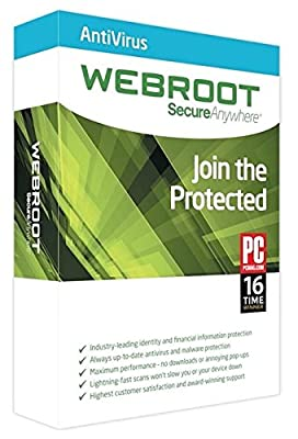 Webroot SecureAnywhere Antivirus | 2017 (1 PC - 1 Year) No CD- Only key via email
