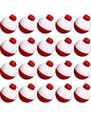 Syhood Fishing Float 1 Inch Fishing Float Push Button Floats Red and White Bobber Fishing Tackle, 20 Packs