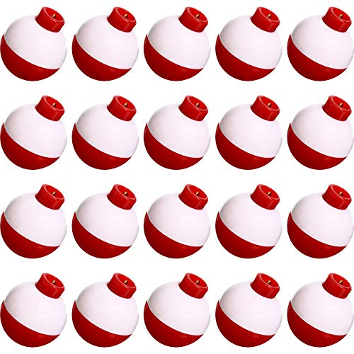 Fishing Float 1 Inch Fishing Float Push Button Snap-on Floats Red and White Bobber Fishing Tackle, 20 Packs