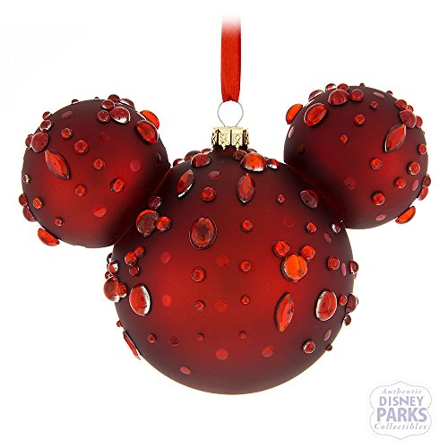 Parks Disney Mickey Mouse Icon Ruby Gems Glass Ornament ()