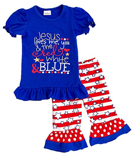 Price comparison product image Angeline Girls July 4th Independence Day Capri Set Jesus Loves Me 18-24M/XS