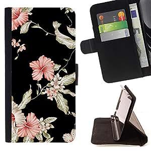 - GARDEN FLOWERS FLORAL PINK BLACK WALLPAPER - - Prima caja de la PU billetera de cuero con ranuras para tarjetas, efectivo desmontable correa para l Funny HouseFOR LG G3