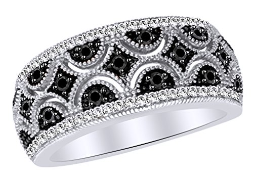 Black & White Natural Diamond Quilt Anniversary Ring In 14k White Gold Over Sterling Silver (0.33 Cttw) Ring Size-4 by AFFY