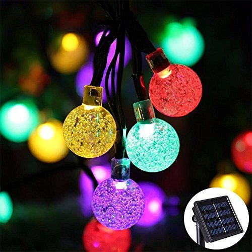 20feet(6m) 30 LED Waterproof Crystal Ball Solar String Lights /Solar Powered Globe Fairy String Lights for Outdoor,Yard,Garden,Home,Garden,Path,Chrismas Day,Landscape Decoration Lighting(Multi (Quick Halloween Decorations To Make)