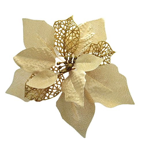 Crazy Night (Pack of 12 Glitter Poinsettia Christmas Tree Ornaments (Gold) ()