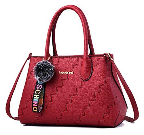 NUCLERL de alta calidad de cuero de la PU bolso de mujer del patrón de onda Lady bolso de hombro Messenger Bag con pequeño colgante de peluche lindo gris Rojo
