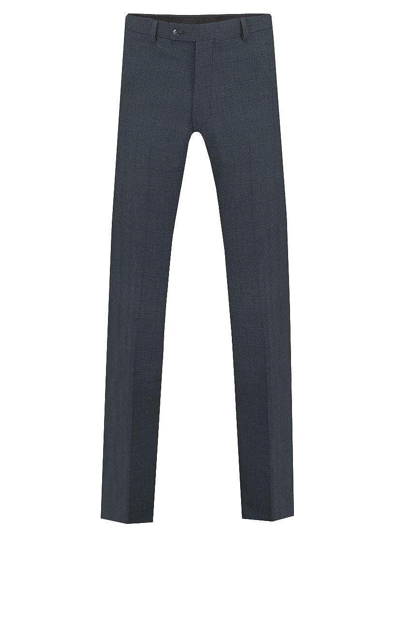 Dobell Boys Navy Suit Pants Regular Fit Windowpane Check