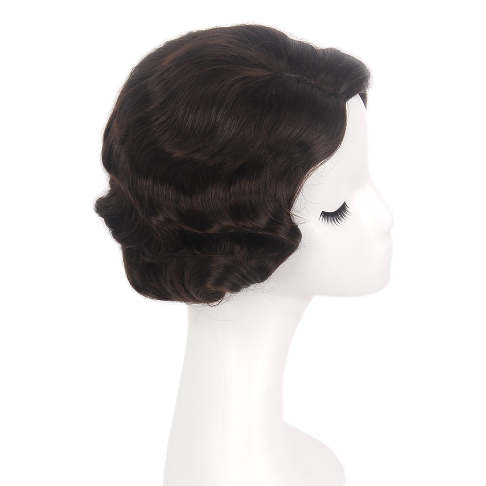 STfantasy Finger Wave Wig Brown Bob Short Curly for Women Cosplay Party Costume Hair 12'' by STfantasy (Image #4)