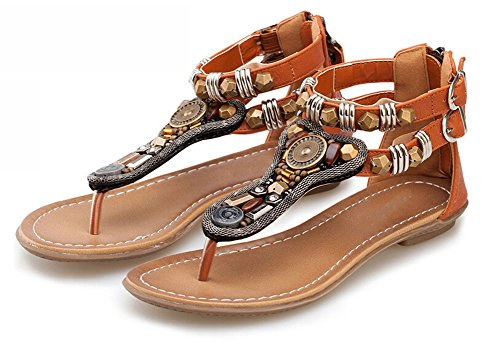 women sandals Sandals Women gem summer leather tropical sandal beaded slippers bohemia flat shoes Genuine Brown dTdvx