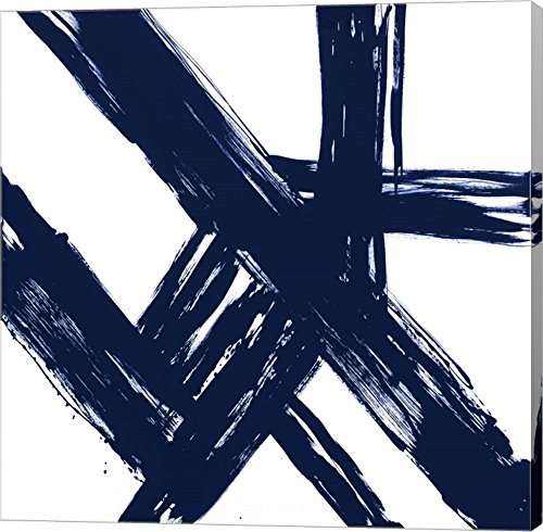 Strokes in Navy I by Megan Morris Canvas Art Wall Picture, Gallery Wrap, 12 x 12 inches