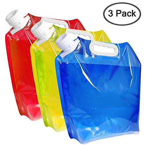 maxin 5 litres Collapsible Water Container,BPA Free Plastic Water Carrier Folding Water Bag Set of 3 for Outdoor Camping Backpacking Hiking.