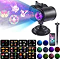 Projector Light for Holiday - 2 in 1 Ripple Ocean Light with 12 Slides 10 Colors Patterns, Waterproof Outdoor/Indoor Landscape Theme Party Yard Garden Decoration