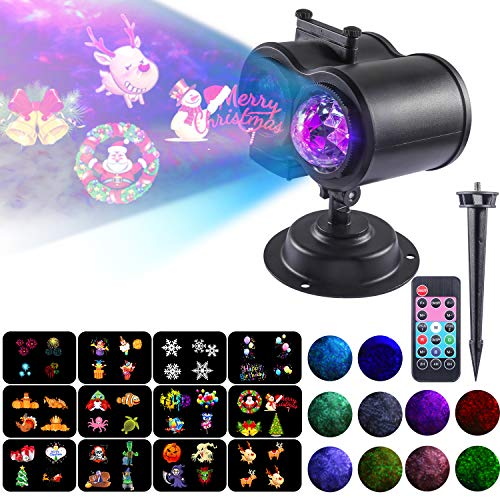 (Projector Light for Holiday - 2 in 1 Ripple Ocean Light with 12 Slides 10 Colors Patterns, Waterproof Outdoor/Indoor Landscape Theme Party Yard Garden)