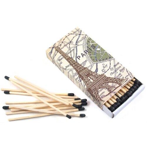 HomArt Paris Map Large Decorative Wood Matches Set of 3 matchboxes -