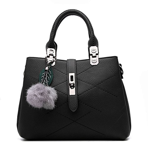 Bags Top PU Crossbody Handbags Satchel Black and Bag Handle Totes Shoulder Women's Leather Purses HtqBwX