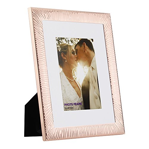 8x10 Picture Frames Made of Metal (Steel) and High Definition Glass Display Pictures 5x7 with Mat or 8x10 Without Mat for Wall mounting photo frame Rose Gold