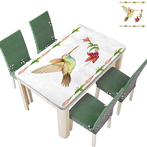 Printsonne Polyester Hummingbird Flying Over a Flower Fuchsia,Watercolor,Vector for Kitchen Room 50 x 72 Inch (Elastic Edge) - Garden Kent Water