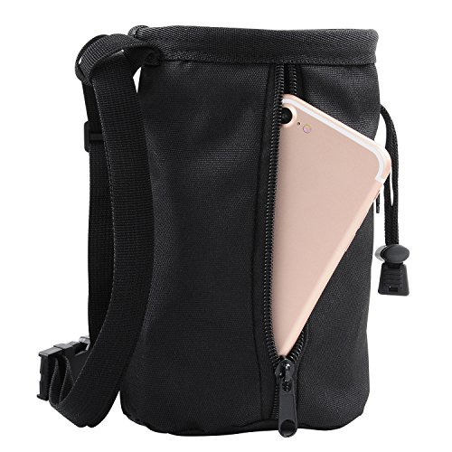 Chalk Bag for Rock Climbing, Weightlifting, Bouldering & Gymnastics with Quick-clip Belt - 2 Large Zippered Pockets for Securely Holding iPhone 6 Plus / Galaxy S6+ and Other Valuables