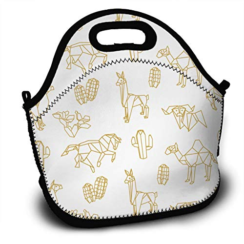 FWSXIVN Golden Geometric Origami Animals Waterproof Lunch Bag Handbag Lunchbox Food Container Gourmet Tote Cooler Warm Pouch for School Work Office Outdoor Travel Picnic