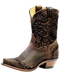 Boulet Western Boots Womens Cowboy Leather Snip Selvaggio Wood 4631