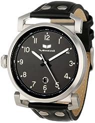 Vestal Mens OB3L006 Observer Leather Black Silver Watch