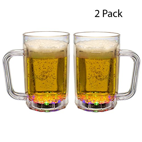 Windy City Novelties LED Light up Beer Drinking Glass Mug 14 OZ - Set of 2 ()