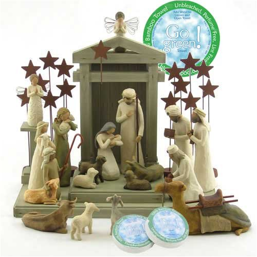 Willow Tree Complete 22 Piece Nativity Set By Susan Lordi with Go Green! Compressed Bamboo Towels by Willow Tree