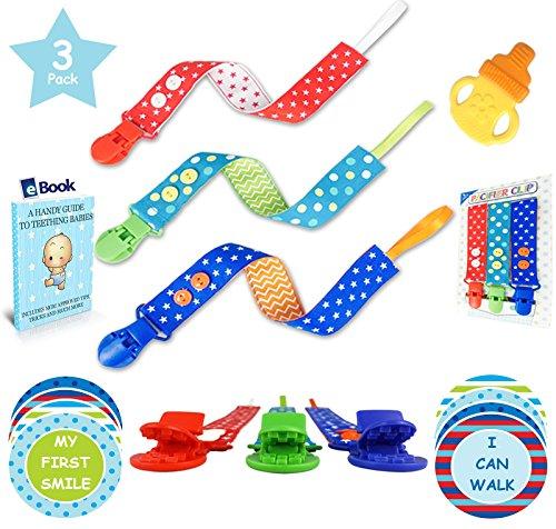 Premium Pacifier Clip Boy 3Pk Bundle - Bonus 12 Milestone Stickers, Silicone Soothie Teether & Teething eBook - 2...