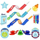 Boys Pacifier Clip 3Pk Bundle by Trend Seller - 100% Premium Double Sided Binky Holder - Bonus Soothing Teether, 12 Milestone Stickers & Teething eBook - For Soothies, Bibs & Toys - Baby Shower Gift