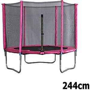 Premium Trampolin neonpink 244cm mit Netz Sicherheitsnetz Gartentrampolin für Kinder ...