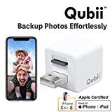 Flash Drive for iPhone, Auto Backup Photos & Videos, Photo Stick for iPhone, Qubii Photo Storage Device for iPhone & iPad【microSD Card Not Inculded】- White