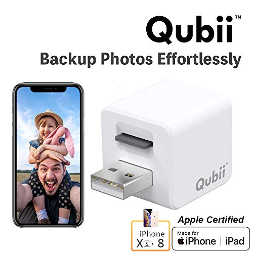 Flash Drive for iPhone, Auto Backup Photos & Videos, Photo Stick for iPhone, Qubii Photo Storage Device for iPhone & iPad【microSD Card Not Included】- White